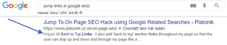 Exempel på ankarlänk i serpen hos Google