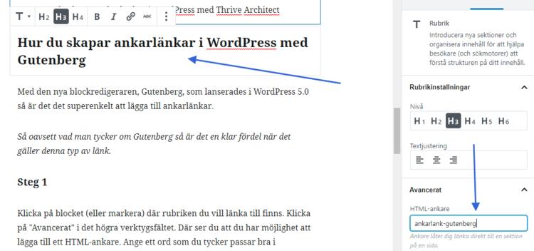 Skapa ankarlänk i Gutenberg WordPress