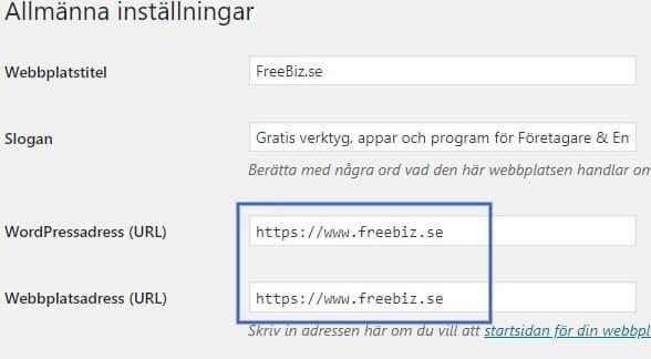 WordPress admin - ändra sajtens webbadress